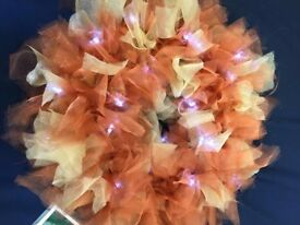 Organza Rag Wreaths with Led Battery Lights - Multiple Colour Options available