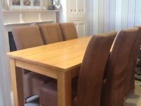 Light oak solid table and chairs set