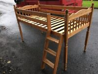Solid pine mid sleeper bed