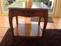 Yew wood small occasional table with draw vgc