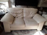 Cream leather 2 seater sofa Copley Mill Low Cost Moves 2nd Hand Furniture STALYBRIDGE SK15 3DN