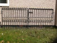 Pair of wrought iron driveway gates to fit opening 3m (10ft) wide. Each 1.5m wide x 1.17m high.