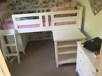 Single Cabin Bed with Slide-out Desk with Shelves and a Freestanding Cupboard All in Good Condition