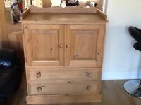 Solid Pine Baby Changing Unit/cupboard with 2 drawers