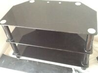 """Black Glass TV Stand for TVs up to 50"""" inch -used as shown in pictures"""