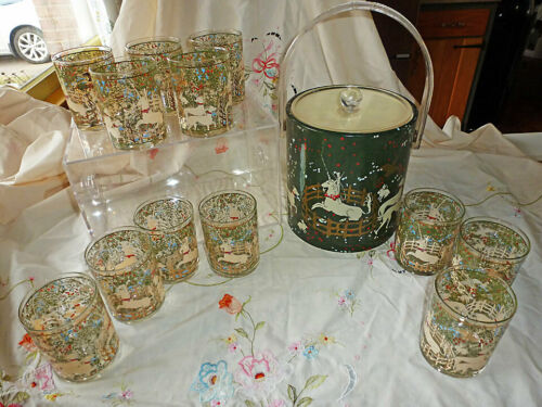 Vintage Set 12 MCM CERA Unicorn in Captivity Rocks Glasses & Ice Bucket - RARE!