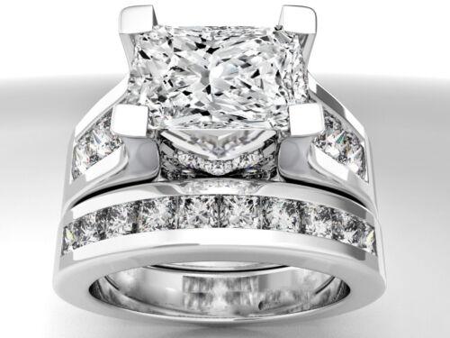 Princess Cut Diamond Bridal Ring Set 3.70 Carat GIA Certified 18k White Gold