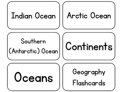 Geography Continents Oceans - 23 Laminated Black and White Geography Word Flashcards. Continent and Ocean Name