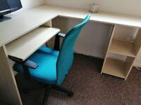 L-shaped desk + chair