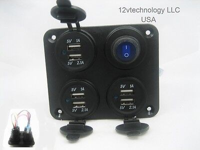 Charging Station Panel Wall Mount 9.2 Amp USB Charger Outlet Power Switch 12v