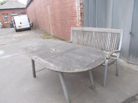 WOODEN GARDEN TABLE AND BENCH FOR SALE