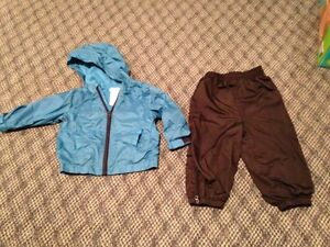 Spring jackets and splash pants size 12-18 months