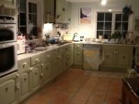 Schrieber kitchen unit fronts 24 drawer & cupboards painted green solid wood
