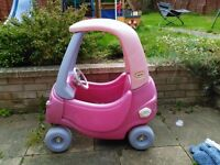 Little tikes pink and lilac cosy coupe car for toddlers