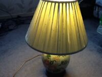 Large light green table lamp and shade