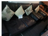 BROWN LEATHER TWO SEATER AND MATCHING CHAIR FROM DFS ULTIMATE COMFORT AND MODERN DESIGN