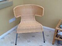 Modern Wing Back Wicker Chair