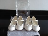 2 x PAIRS BRIDESMAIDS BALLERINA SHOES SIZE 1