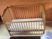 "Pine cot 24""x46"". Good condition, nearly new mattress"
