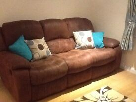 Suede 3 Seater Reclining Sofa
