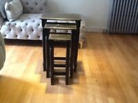 Nest of three rustic display/side tables