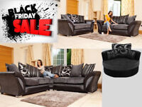 SOFA BLACK FIRDAY SALE DFS SHANNON CORNER SOFA with free pouffe limited offer 4509BUE