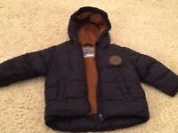 Boys coat, age 12-18 months, navy blue, warm lining, shower proof