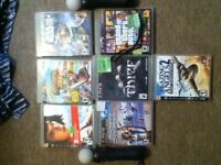 7 games and 2 playstation move controllers