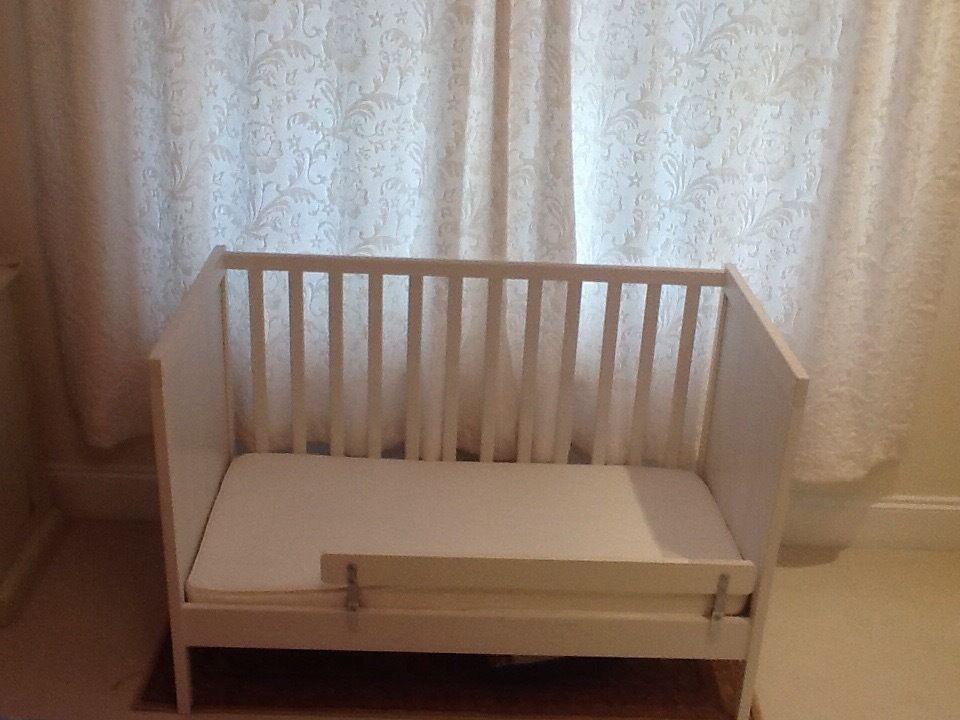 babyu0027s cot ikea white two levels vysa vinka mattress vikare guard rail plus two fitted