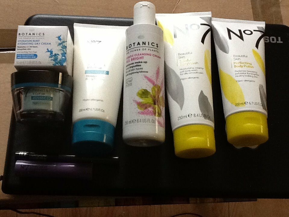 BOTANICS AND BOOTS NO 7 TOILETRIES. ALL NEW AND UNUSED.