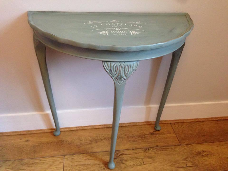 Shabby Chic Queen Anne Style Half Moon Hall Table