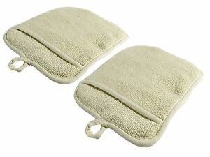 2 beige terry cloth pot holders with pockets free shipping us only