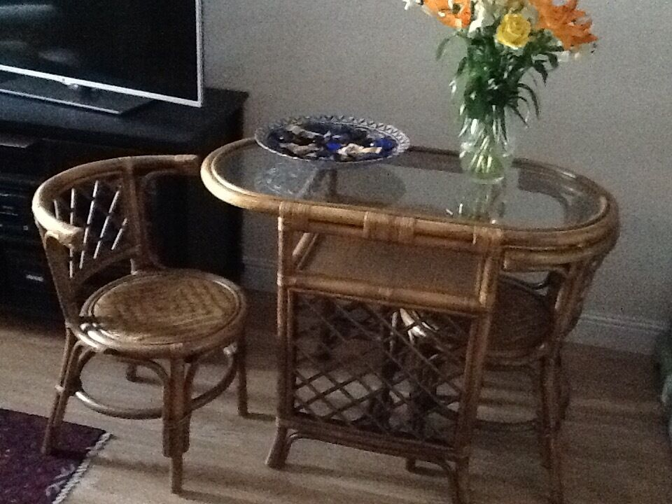Exceptional Small Cane Table And Two Chairs