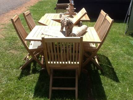 NEW TEAK 7 PIECE 1.45m  1.95mx 1m EXTENSION TABLE OUTDOOR SETTING Part 52