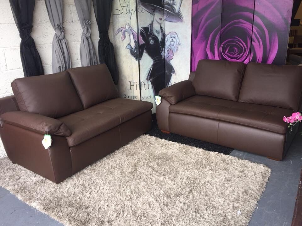 New A Pair Of 2 Seater Sofa Sections In Brown Faux Leather £99