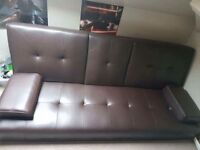 Brown Leather Cinema Style Double Sofa Bed