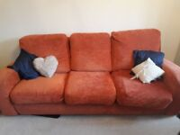 3 Seater Sofa In Rust/Orange