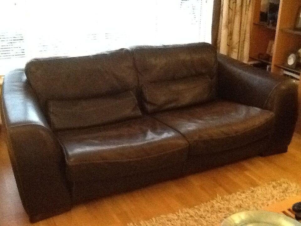 Italian Leather Incanto Divani 3 Seater Sofa Walnut Brown