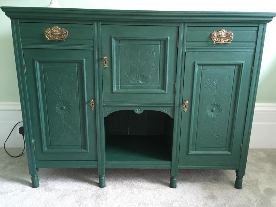 Good Vintage Retro Shabby Chic Regal Amsterdam Green Sideboard With Shabby  Chic Regal