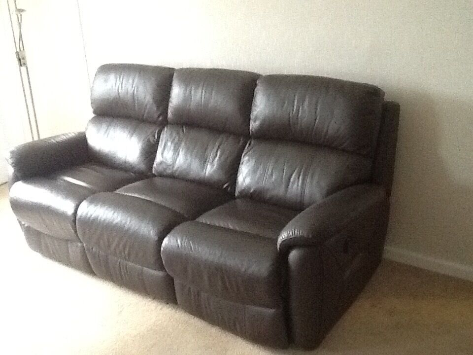 DFS Navona Dark Brown Leather 3 Seater Electric Recliner Sofa