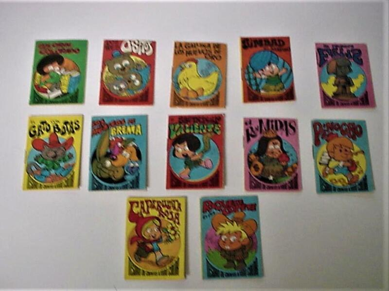 10 MINIATURE COMIC BOOKS IN SPANISH 2 X 2 3/4 INCHES 10 IN ALL