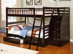 True Contemporary Fraser Espresso Full over Full Bunk Bed with Stairs and Storage Drawers in Canada