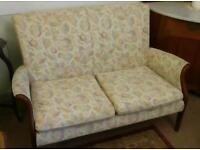 Wonderful Two Seater Sofa & Chair with Wood Trim