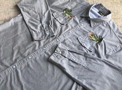 RARE Howler Bros Men Gaucho SnapShirt XL Large Gators Grey Oxford Fishing Pearl
