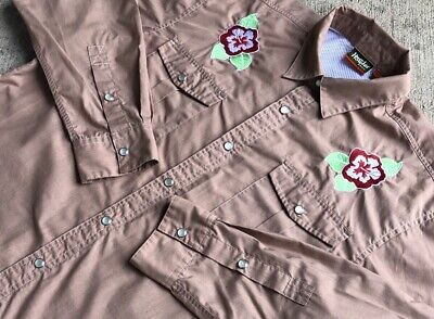Howler Bros Men's Gaucho SnapShirt Medium Hibiscus Flowers Fishing Pearl Button