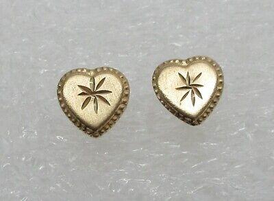 SOLID 14k Yellow GOLD Diamond Cut Heart Sud Earrings- Missing Backings- L@@K!  Solid 14k Gold Heart Earrings