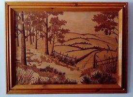 Original Signed Pyrography/Wood Burning Art in Frame