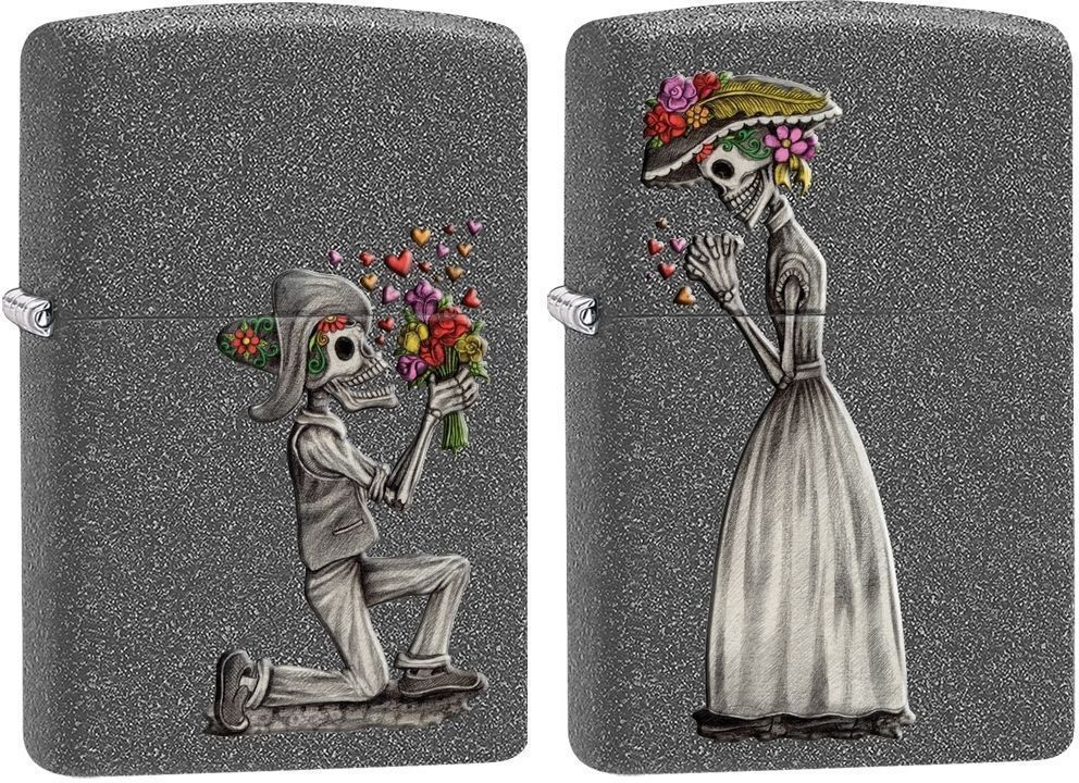 Zippo 2 Piece Lighter Set, Day Of The Dead Skeleton Love, 28987,  New In Box