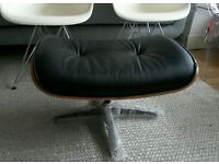 Eames Reproduction Black Leather Ottoman Footstool slight wear on piping