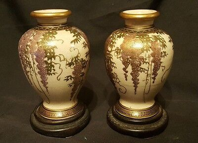 Pair of Early 20th Miniature  Century Satsuma Wisteria  Vases with stands